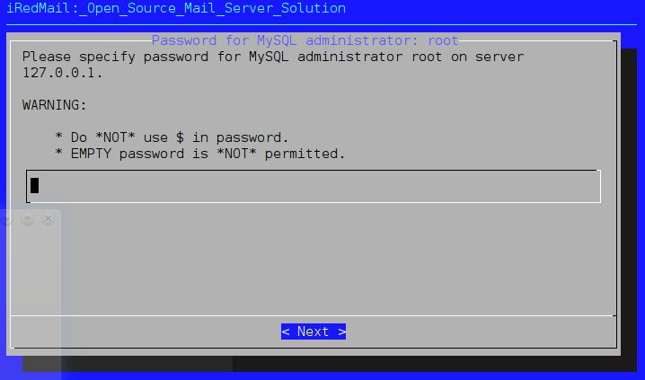 4) если Вы выбрали MySQL, iRedMail установщик задаст Вам всего один вопрос: пароль root-пользователя MySQL.