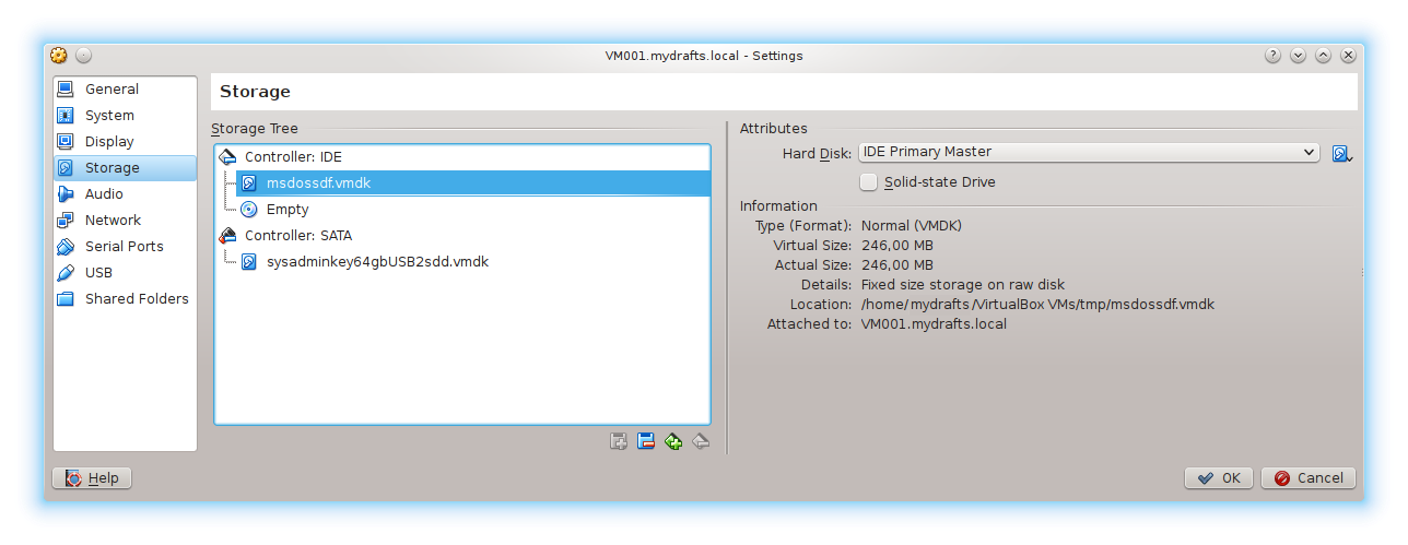 "VirtualBox - загрузка виртуальной машины с ""флешки"" в Linux  MS DOS 6.22 -> /dev/sdf -> msdossdf.vmdk"